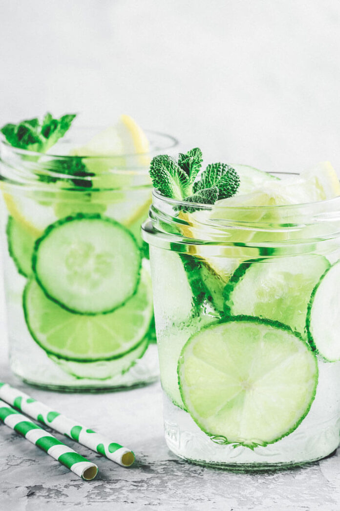 Cucumber and lemon detox water for weight loss
